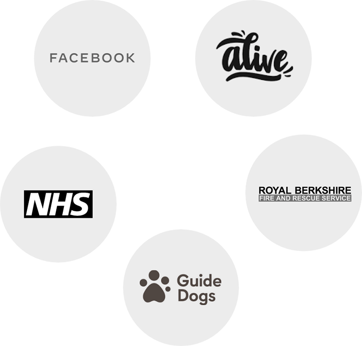 logos of NHS, Facebook, Alive, Guide Dogs and Royal Berkshire Fire and Rescue
